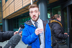 "© Licensed to London News Pictures. 05/02/2018. Liverpool, UK. Tom Evans, father of Alfie Evans arrives at Liverpool Civil & Family Court this morning. Tom Evans and Kate James from Liverpool are in dispute with medics looking after their son 19-month-old son Alfie Evans, at Alder Hey Children's Hospital in Liverpool. Alfie is in a ""semi-vegetative state"" and had a degenerative neurological condition doctors have not definitively diagnosed. Specialists at Alder Hey say continuing life-support treatment is not in Alfie's best interests but the boy's parents want permission to fly their son to a hospital in Rome for possible diagnosis and treatment. Photo credit: Andrew McCaren/LNP"