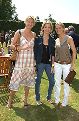 "Left to right, sisters LADY MARIA BALFOUR, LADY CANDIDA BALBOUR and LADY KINVARA BALFOUR at a luncheon hosted by Cartier at the 2005 Goodwood Festival of Speed on 26th June 2005.  Cartier sponsored the ""Style Et Luxe' for vintage cars on the final day of this annual event at Goodwood House, West Sussex. <br />