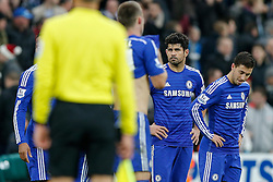 Eden Hazard and Diego Costa of Chelsea look dejected after Newcastle win 2-1 to inflict a first defeat in all competitions this season on Chelsea - Photo mandatory by-line: Rogan Thomson/JMP - 07966 386802 -06/12/2014 - SPORT - FOOTBALL - Newcastle, England - St James' Park - Newcastle United v Chelsea - Barclays Premier League.