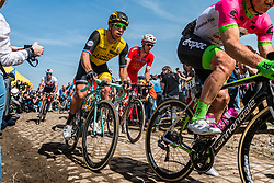 Dylan GROENEWEGEN from the Netherlands of Team LottoNL-Jumbo at the 4 star cobblestone sector 26 from Fontaine-au-Tertre to Quievy during the 2018 Paris-Roubaix race, France, 8 April 2018, Photo by Pim Nijland / PelotonPhotos.com   All photos usage must carry mandatory copyright credit (Peloton Photos   Pim Nijland)