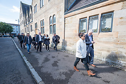 22 September 2016, Gorbals, Glasgow, Scotland: On the way to visiting the Bridging the Gap project, an initiative to offer free lunch and a meeting place for those in need, in the area of Gorbals, Glasgow, are participants in the World Council of Churches consultation on spirituality, worship and mission - Searching for ecumenical spirituality of the Pilgrimage of Justice and Peace. The consultation was convened by the World Council of Chuches, at the Conforti Institute in Coatbridge, Scotland..
