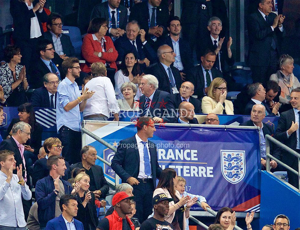 PARIS, FRANCE - Tuesday, June 13, 2017: British minority Prime Minister Theresa May reacts as France celebrate the third goal during an international friendly match at the Stade de France. (Pic by David Rawcliffe/Propaganda)