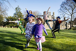 Pictured: RobThorburn (hat), Will Borrell, Alyssa Brough (blue jacket) and Kate McWilliam entertained Lily Donald (4 and floral hairband) and Isla Sutherland (4 bow headband) with their skills.<br /> <br /> The Festival of Museums launch featured performers, RobThorburn (hat), Will Borrell, Alyssa Brough (blue jacket) and Kate McWilliam from Circus Alba showcasing their skills.<br /> <br /> Ger Harley | EEm 30 March 2016