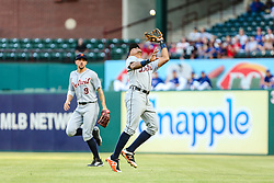 May 7, 2018 - Arlington, TX, U.S. - ARLINGTON, TX - MAY 07: Detroit Tigers shortstop Dixon Machado (49) caches a pop fly for a third out during the game between the Texas Rangers and the Detroit Tigers on May 07, 2018 at Globe Life Park in Arlington, Texas. Texas defeats Detroit 7-6. (Photo by Matthew Pearce/Icon Sportswire) (Credit Image: © Matthew Pearce/Icon SMI via ZUMA Press)