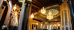 An iPhone6 panoramic image of the chandelier above the praying hall is 14 meters tall and was manufactured by company Faustig, from Germany, in the The Great Mosque of Sultan Qabus, in the quarter of Bawshar. Images from the MSC Musica cruise to the Persian Gulf, visiting Abu Dhabi, Khor al Fakkan, Khasab, Muscat, and Dubai, traveling from 13/12/2015 to 20/12/2015.