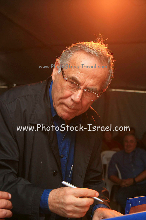 """Stef Wertheimer at the cornerstone ceremony for the """"metzudat koach"""" museum. Metzudat Koach Memorial (also Nabi Yusha fortress) commemorates 28 soldiers who died during the conquering of the strategically important fortress, in 1948. The fortress and observation point is located in the Upper Galilee, Near Naharia. The fortress was a key observation point in the Naftali heights, overlooking the Hula Valley, and used mostly in an attempt to block the Palestine/Lebanon border. Today, the fortress serves as an Israel Border Police base."""