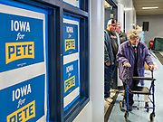 25 NOVEMBER 2019 - CRESTON, IOWA: Mayor Pete Buttigieg, the mayor of South People walk into a campaign event for Mayor Pete Buttigieg in Creston Monday. Buttigieg, the mayor of South Bend, Indiana, is campaigning to the Democratic nominee for the US presidency. Iowa traditionally hosts the the first selection event of the presidential election cycle. The Iowa Caucuses will be on Feb. 3, 2020.                      PHOTO BY JACK KURTZ