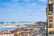 Israeli Air force (IAF) Sikorsky CH-53 helicopter in flight over the Tel Aviv beach
