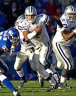 Kansas State quarterback Josh Freeman (1) brakes up the middle for a long first down run against Kansas at Memorial Stadium in Lawrence, Kansas, November 18, 2006.  Kansas beat K-State 39-20.<br />