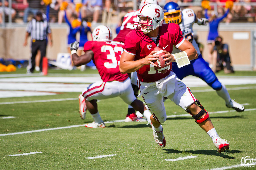 Stanford (7) quaterback Andrew Luck (12) looks for a receiver in their 57-3 win over San Jose State at Stanford University in Palo Alto, Calif., Sept. 3, 2011.  (Spartan Daily/Stan Olszewski)