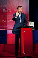 Mitt Romney..Eight republican candidates for US President face off at a debate held at the Ronald Reagan Library. The debate was sponsored by NBC News and POLITICO, and was moderated by Brian Williams, anchor of NBC Nightly News.