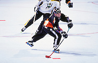 1996:  Orlando Jackals player #34 Daniel Shank in action during a Roller Hockey International RHI indoor inline hockey game.  Original image scan from negative, print or transparencey.  Image is available for personal or editorial use only.
