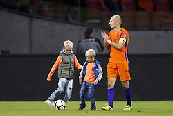 (L-R)  Luka Robben, Kai Robben, Arjen Robben of Holland, during the FIFA World Cup 2018 qualifying match between The Netherlands and Sweden at the Amsterdam Arena on October 10, 2017 in Amsterdam, The Netherlands