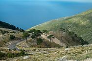 Landscape on the road approximately three hours drive north of Sarandë (Saranda), Albania. Photon taken through a bus window.