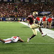 Florida State Seminoles wide receiver Kermit Whitfield (8) scores a touchdown past Mississippi Rebels defensive back Jaylon Jones (31) during an NCAA football game between the Ole Miss Rebels and the Florida State Seminoles at Camping World Stadium on September 5, 2016 in Orlando, Florida. (Alex Menendez via AP)