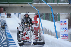 February 23, 2019 - Calgary, Alberta, Canada - A worker claens the track in between the races during BMW IBSF SKELETON WORLD CUP Calgary Canada 23.02.2019 (Credit Image: © Russian Look via ZUMA Wire)