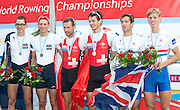 Amsterdam. NETHERLANDS.  left. FRA LM2-. Augustin MOUTERDE and Thomas BAROUKH. Silver  Medalist.  Centre. SUI LM2-. Simon NIEPMANN and Lucas TRAMER, Gold  Medalist. right. GBR. LM2-. Sam SCRIMGEOUR and Jonno CLEGG. Bronze Medalist. .  Bosbaan Rowing Course. 2014 World Rowing Champions . 15:59:19  Friday  DATE}  [Mandatory Credit; Peter Spurrier/Intersport-images]