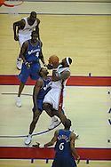 The Washington Wizards defeated the Cleveland Cavaliers 88-87 in Game 5 of the First Round of the NBA Playoffs, April 30, 2008 at Quicken Loans Arena in Cleveland..LeBron James of Cleveland collides with Brendan Haywood of Washington.