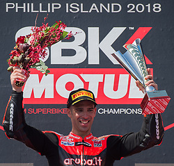 February 25, 2018 - Melbourne, Victoria, Australia - Italian rider Marco Melandri (#33) of Aruba.it Racing - Ducati celebrates after winning the second race on day 3 of the opening round of the 2018 World Superbike season at the Phillip Island circuit in Phillip Island, Australia. (Credit Image: © Theo Karanikos via ZUMA Wire)