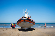 De reddingsboot van de KNRM (Koninklijke Nederlandse Reddings Maatschappij) in Noordwijk aan Zee.<br />