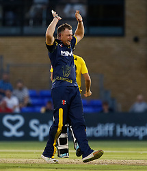 Glamorgan's Graham Wagg celebrates taking the wicket of Gloucestershire's Benny Howell<br /> <br /> Photographer Simon King/Replay Images<br /> <br /> Vitality Blast T20 - Round 8 - Glamorgan v Gloucestershire - Friday 3rd August 2018 - Sophia Gardens - Cardiff<br /> <br /> World Copyright © Replay Images . All rights reserved. info@replayimages.co.uk - http://replayimages.co.uk