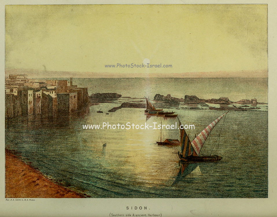 Ancient Harbour of Sidon, Lebanon from the book Scenes in the East : consisting of twelve coloured photographic views of places mentioned in the Bible, with descriptive letter-press. By Tristram, H. B. (Henry Baker), 1822-1906; Published by the Society for Promoting Christian Knowledge (Great Britain) in London in 1872