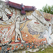 A mural commemorating the local history of Ushuaia, Argentina.