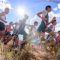 Boys varsity race runners sprint through the trail at the Grants Invitational Friday.