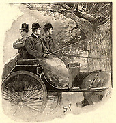 The Adventure of the Musgrave Ritual'. Holmes, right, observing the ancient oak tree that is part of the key to solving the mystery of the disappearance of the Musgrave's butler.  From 'The Adventures of Sherlock Holmes' by Conan Doyle from 'The Strand Magazine' (London, 1893). Illustration by Sidney E Paget, the first artist to draw Sherlock Holmes.  Engraving.