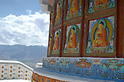 India, Ladakh region state of Jammu and Kashmir, Leh Imperial Palace, Shanti Stupa Buddhas carved in a wall