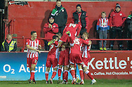 Accrington players celebrate going 2-0 up just before the end of the first half during the Sky Bet League 2 match between Accrington Stanley and Hartlepool United at the Fraser Eagle Stadium, Accrington, England on 19 January 2016. Photo by Mark P Doherty.