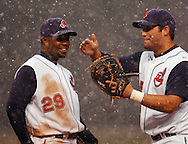 D.Josh Barfield and Ryan Garko have a little fun during a delay in the fifth inning..Snow delayed the home opener of the Cleveland Indians/Seattle Mariners contest at Jacobs Field, April 6, 2007
