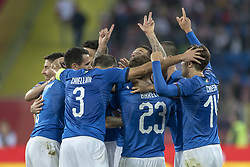 October 14, 2018 - Chorzow, Poland - Italian players celebrate Cristiano Biraghi scoring during the UEFA Nations League A match between Poland and Italy at Silesian Stadium in Chorzow, Poland on October 14, 2018  (Credit Image: © Andrew Surma/NurPhoto via ZUMA Press)