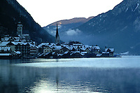 Winter view of the village of Hallstatt, Austria, from across the lake of the same name. Ref: 2000121225.<br /> <br /> Copyright Image from Victor Patterson, Belfast, UK<br /> <br /> t: +44 28 9066 1296 (from Rep of Ireland 048 9066 1296)<br /> m: +44 7802 353836<br /> e: victorpattersonbelfast@gmail.com<br /> <br /> www.images4media.com<br /> <br /> Please see my full Terms and Conditions of Use at https://www.images4media.com/p/terms-conditions - it is IMPORTANT that you familiarise yourself with them.<br /> <br /> Images used online incur an additional cost. This cost should be agreed in writing in advance. Online images must be visibly watermarked i.e. © Victor Patterson or that of the named photographer within the body of the image. The original metadata must not be deleted from images used online.<br /> <br /> This image is only available for the use of the download recipient i.e. television station, newspaper, magazine, book publisher, etc, and must not be passed on to a third party. It is also downloaded on condition that each and every usage is notified within 7 days to victorpattersonbelfast@gmail.com.<br /> <br /> The right of Victor Patterson (or the named photographer) to be identified as the author is asserted in accordance with The Copyright Designs And Patents Act (1988). All moral rights are asserted.