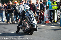 Sebastien Lorentz of Lucky Cats on his faired BMW racer at the Sultans of Sprint races at the Intermot Motorcycle Trade Fair. Cologne, Germany. Sunday October 9, 2016. Photography ©2016 Michael Lichter.