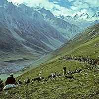 A line of 30,000 Hindu pilgrims climbs 14,000+ foot Mahagunas Pass during a 5-day Himalayan pilgrimage to worship Shiva at Amaranth Cave in Kashmir, India.