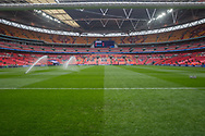 General view of the pitch at Wembley Stadium with the sprinklers on ahead of the FA Cup semi-final match between Watford and Wolverhampton Wanderers at Vicarage Road, Watford, England on 7 April 2019.