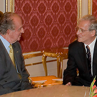I. Juan Carlos Spanish king and Hungarian president Laszlo Solyom meet in Sandor Palace, Budapest, Hungary. Tuesday, 29. May 2007. ATTILA VOLGYI