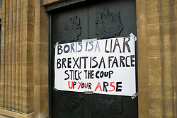 Protest outside City Hall, Norwich, following PM Boris Johnson's decision to suspend parliament in September. Norfolk UK 31 August 2019