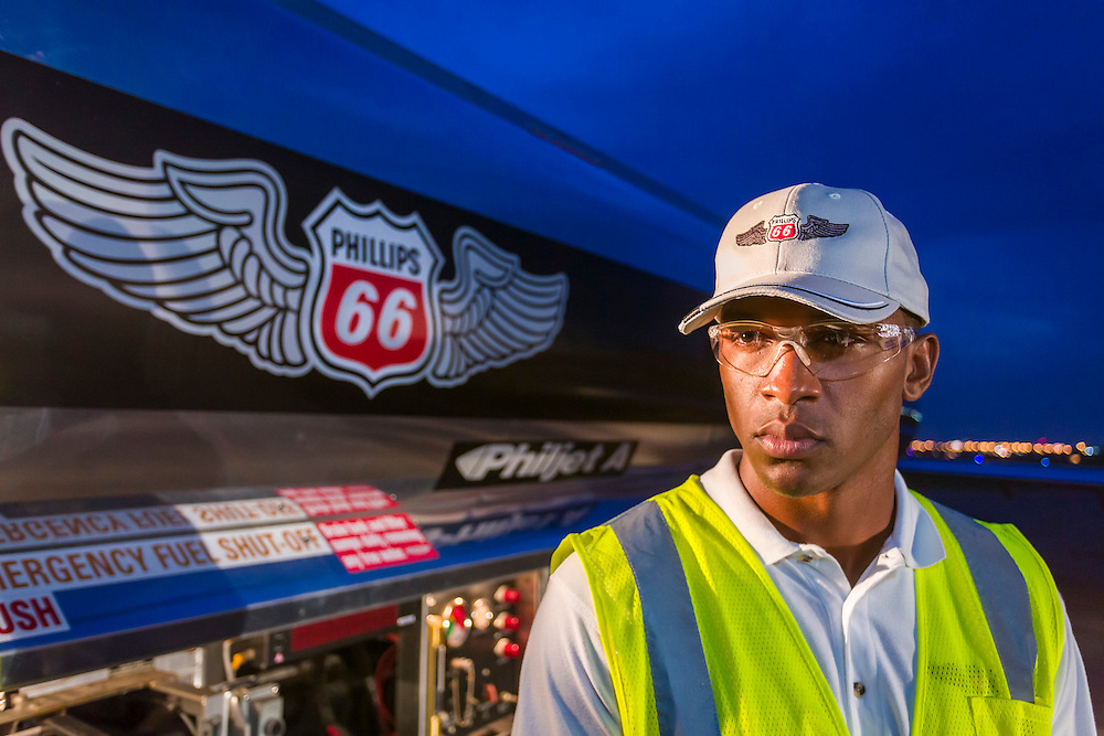 Fuel handler, commissioned as advertising for Phillips 66 Aviation Fuels.  <br />