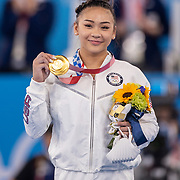 TOKYO, JAPAN - JULY 29: Sunisa Lee of the United States on the podium with her gold medal after winning the All-Around Final for Women at Ariake Gymnastics Centre during the Tokyo 2020 Summer Olympic Games on July 29, 2021 in Tokyo, Japan. (Photo by Tim Clayton/Corbis via Getty Images)