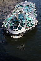 """Himiko water bus was created by Leiji Matsumoto one of Japan's renowned cartoonists and anime artists.  It is a unique boat with a streamlined body and 3D windows. Matsumoto designed it based on the concept of teardrops.  At night the floor panels are lit up and emphasize the ship's sophisticated design. """"Himiko"""" is named after Queen Himiko who was the first independent woman to be recognized in Japanese history."""