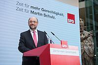 30 JAN 2017, BERLIN/GERMANY:<br /> Martin Schulz, SPD, Kanzlerkandidat und designierter Parteivorsitzender, waehrend einer Pressekonferenz nach der Klausurtagung der SPD Spitze, Willy-Brandt-Haus<br /> IMAGE: 20170130-01-005