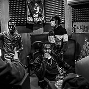 KHARTOUM, SUDAN - DECEMBER 16: Members of the Hip-Hop collective Young justice spend time in the studios at the Capital Radio 91.6 FM station in Khartoum, Sudan on December 16, 2020. Byron Smith for Libération