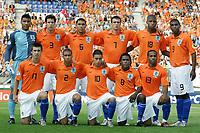 Fotball<br /> UEFA U21 Championships<br /> 10.06.2007<br /> Nederland v Israel 1-0<br /> Foto: ProShots/Digitalsport<br /> NORWAY ONLY<br /> <br /> teamfoto elftal foto jong oranje achter : waterman , vlaar , maduro , jenner , donk en babel . voor : medunjanin , zuiverloon , aissati , drenthe en rigters<br /> Lagbilde Nederland