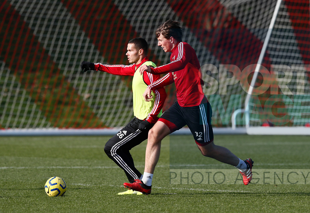 Jack Robinson and Sander Berge of Sheffield Utd during the Press Conference & Training at the Steelphalt Academy, Sheffield. Picture date: 7th February 2020. Picture credit should read: Simon Bellis/Sportimage