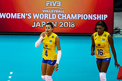 07-10-2018 JPN: World Championship Volleyball Women day 8, Nagoya<br /> Germany - Brazil / Ana Carolina Da Silva #4 of Brazil, Fernanda Rodrigues #16 of Brazil