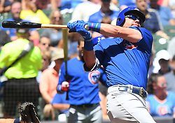 June 13, 2018 - Milwaukee, WI, U.S. - MILWAUKEE, WI - JUNE 13: Chicago Cubs Outfield Kyle Schwarber (12) takes a cut during a MLB game between the Milwaukee Brewers and Chicago Cubs on June 13, 2018 at Miller Park in Milwaukee, WI. The Brewers defeated the Cubs 1-0.(Photo by Nick Wosika/Icon Sportswire) (Credit Image: © Nick Wosika/Icon SMI via ZUMA Press)
