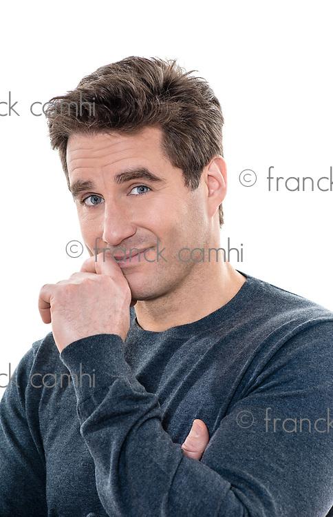 one  man mature handsome shy portrait studio white background