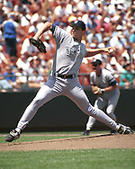 New York Yankee Andy Pettitte fires in a pitch against the Kansas City Royals at Kauffman Stadium in Kansas City, Missouri on August 4, 1996.